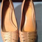 "NEW! Nurture ""Carmen"" Tan Leather Snake Print Wedge Platform Heel Size 6"