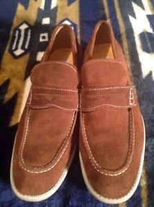 GBX Men's Shoes, 8.5M, Brown Suede Leather Loafers Distressed Soles Good Looking