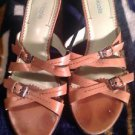 NICOLE BROWN CAMEL LEATHER SLIDES SANDALS HEELS SHOES SZ 8.5M