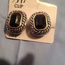 NWT Silver Swirl With Black Stone With Gold Also Clip-On Earrings