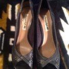 AMERICAN EAGLE PAYLESS Women's Faux Leather Heels Black Open Toe Pumps sz 9
