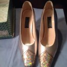 J Renee Shoes 11 Gold Perla Genuine Leather Heels Shoes GORGEOUS Ret. $75 No Box