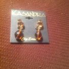 New Kasandra Brown Beaded Triple Cluster Dangle  Clip Earrings