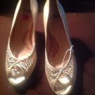 Sofft Gold Pumps Size 10M Peep Toe with a Bow Wooden 3 inch Heel