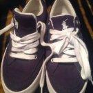 Polo Ralph Lauren Brisbane Womens Size 8B Navy Blue Canvas Sneakers Shoes