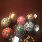 Handcrafted Multi-Color X-Mas Hanging India Balls Hand painted Paper Mache 6 Pcs