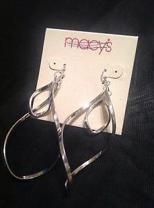 Macy's Long Silver Metal Earrings Beautiful Take A Look $14 Ret.