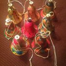Handcrafted Multi-Color X-Mas Hanging India Bells Hand painted Paper Mache 6 Pcs