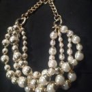"Macy's Pearl & Gold Triple Row Necklace 20"" Ret. $36.50"