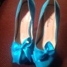 Ami Clubwear Stiletto Platform Women's Shoes 5.5 Suede Aqua Blue SZ 5.5