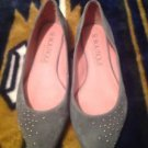 SE Boutique Gray Suede Silver Studded Detail Silver Pointed Toe Shoes Size 7.5