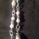 """Nine West Beautiful Silver 20"""" Simulated Pearl Rondele & Crystal Silver Necklace"""