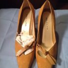 BEAUTIFUL OCHRE SUEDE KID WITH LEATHER TRIM BELLINI HIGH HEEL - Size 11M Ret $89