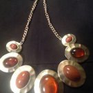 Style & Co. Gold-Tone Brown Hammered Oval Disc Necklace Ret. $30