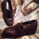 WOMEN'S PRIMA ROYALE BROWN LEATHER PENNY LOAFERS SHOES HEELS SLIP-ON SIZE 8M