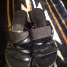 DAMIANI'S BLACK LEATHER OPEN TOE WEDGE SANDALS WOMEN SIZE 8.5 M