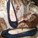 NEW WOMEN'S LILY'S BLUE CROC BALLERINA FLATS BOW TOE SHOES SIZE 7/8M