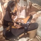 FLOGG WOMEN'S BLACK PATENT LEATHER WOODEN HEEL HEEL SANDALS SIZE 7M MRSP $98