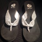 YELLOW BOX PUFFY WOMEN'S THONG SANDALS SILVER BEADING LEATHER Wedge SIZE 10M