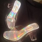 "CLEAR TRANSPARENT WOMEN'S SLIDES 3 1/2""  HEELS SANDALS Sz 6M  SODA HEART ACCENT"