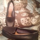 NURTURE TIFFANY PEBBLED LEATHER LOAFERS WOMEN'S SZ 7M CASUAL DRIVING BROWN SHOES