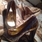 XOXO PLATFORM PUMPS WOMEN'S GOLD SILVER BRONZE BLACK PEEP TOE SIZE 9.5M MRSP $98