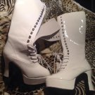 NEW Funtasma Women's Sz. 6M White Lace Up Go Go Boots Costume Halloween Exotica