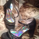 CHINESE LAUNDRY SPARK WOMEN'S BLACK W/RHINESTONES CHUNKY HEEL SHOES SIZE 7.5M
