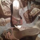 BANDOLINO ORDELLA WOMEN'S CAMEL SUEDE LEATHER WEDGE SANDALS MULES SIZE 6.5M