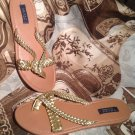 WOMEN'S CHAPS THONG SANDALS GOLD LEATHER BRAIDED SIZE  8M SHOES