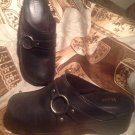 WOMEN'S BASS BLACK CLOGS SLIP ON LEATHER BLOCK HEEL SHOES SIZE 7M CIRCLE ACCENT