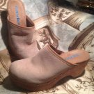 VINTAGE 80s 90s CANDIES WOOD SAND SUEDE CLOGS MULES CHUNKY 7M WOMENS SHOES
