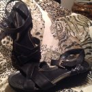 RETRO NINE WEST WOMEN'S BLACK CRISS CROSS STRAPPY LEATHER WEDGE SANDALS US 10M