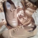 GIANNI BINI WOMEN'S OXFORD BEIGE STUDDED TEXTURED SHOES SIZE 7.5M Lace Ups
