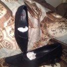 ECCO WOMEN'S PUMPS KITTEN HEELS BLACK SUEDE SHOES BOW TOE SIZE 9 - 9.5 / 40
