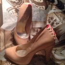 "JESSICA SIMPSON WOMEN'S TAN LEATHER 4.5"" HEEL ROUND TOE PUMPS VELVET BACK SZ 9B"