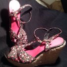 WOMEN'S AMERICAN EAGLE BLACK W/PINK FLOWERS WEDGE SANDALS SHOES SIZE 10M