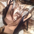 BCBGENERATION WOMEN'S NUDE/BLACK SHOES PATENT SLINGBACKS STILLETTOS Size 10B