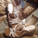 WHAT'S WHAT BY AEROSOLES WHITE STRAPPY WEDGE SANDALS HEELS SHOES SIZE  6.5M