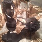 NINA BLACK SATIN WOMEN'S DRESS RUFFLED HEEL SANDALS STILETTOS SHOES SIZE 9M