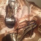 CAPARROS WOMEN'S BLACK SATIN SIZE 7.5M STRAPPY DRESS SANDALS HEELS MRSP $98