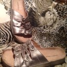 Women's Comfortview Pewter Faux Leather Summer Footbed Slide Sandals Sz 8M