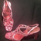 "NEW METAPHOR ""DARIA 3"" WOMEN'S PINK METALLIC SLINGBACK SANDALS SIZE 6.5M SHOES"