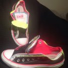 CONVERSE WOMEN'S ALL STAR DOUBLE TONGUE SNEAKERS BLACK W/ HOT PINK LIME SIZE 8M