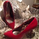 Rampage Women's Pointed Toe Red Patent Pumps Heels Shoes Stilletos 8M