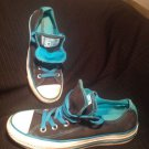 CONVERSE ALL STAR BLACK W BLUE DOUBLE TONGUE Low Top Canvas Sneakers Women's 6M