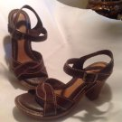 WOMEN'S BROWN NUTURE GRILLEY SANDALS STRAPS LEATHER COMFORT SOLES SZ 6.5M
