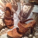 ANTONIO MELANI KENNDAL Brown Leather Slides Sandals Women's Shoes SIZE 7.5M