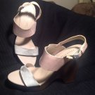 FRANCO SARTO GEORGETTE WOMEN'S WEDGE SANDALS NUDE & GRAY LEATHER SZ 10M MRSP $85