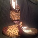 WOMEN'S BRIGHTON PONTI SHOES SANDALS SZ 7M LEOPARD W/ CROC LEATHER MRSP $169